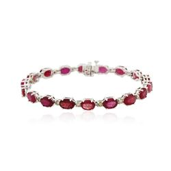14KT White Gold 18.18 ctw Ruby and Diamond Bracelet