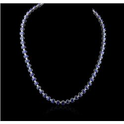 14KT White Gold 32.24 ctw Sapphire and Diamond Necklace