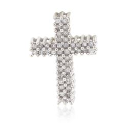 14KT White Gold 0.34 ctw Diamond Cross Pendant