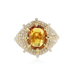 18KT Yellow Gold 3.54 ctw Yellow Sapphire and Diamond Ring