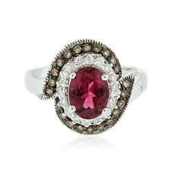 14KT White Gold 1.26 ctw Tourmaline and Diamond Ring