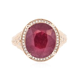 14KT Rose Gold 6.96 ctw Ruby and Diamond Ring