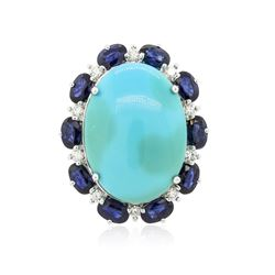 14KT White Gold 11.82 ctw Turquoise and Sapphire Ring