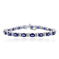 14KT White Gold 10.26 ctw Sapphire and Diamond Bracelet