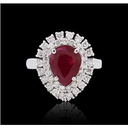 18KT White Gold GIA Certified 2.82 ctw Ruby and Diamond Ring