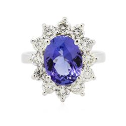 14KT White Gold 3.13 ctw Tanzanite and Diamond Ring