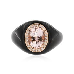 10KT Rose Gold 1.64 ctw Morganite, Onyx and Diamond Ring