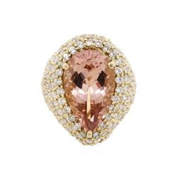 14KT Yellow Gold 10.83 ctw Morganite and Diamond Ring