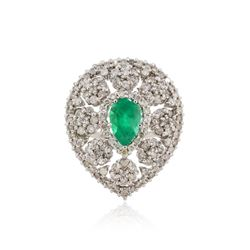 14KT White Gold 1.03 ctw Emerald and Diamond Ring