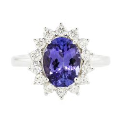 14KT White Gold 2.33 ctw Tanzanite and Diamond Ring