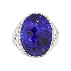 18KT White Gold GIA Certified 25.57 ctw Tanzanite and Diamond Ring