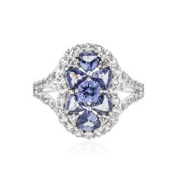 SILVER 1.49 ctw Tanzanite and White Sapphire Ring