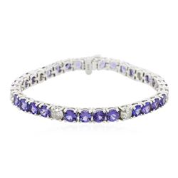 14KT White Gold 14.28 ctw Tanzanite and Diamond Bracelet