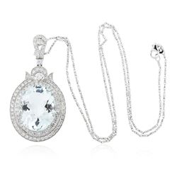 14KT White Gold 17.88 ctw Aquamarine and Diamond Pendant With Chain