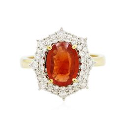 14KT Yellow Gold 2.02 ctw Padparadscha and Diamond Ring