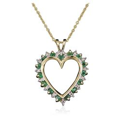 14KT Yellow Gold Emerald and Diamond Pendant With Chain