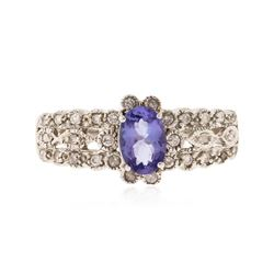 14KT White Gold 0.59 ctw Tanzanite and Diamond Ring
