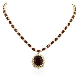 14KT Yellow Gold 44.70 ctw Ruby and Diamond Necklace
