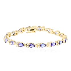 14KT Yellow Gold 6.84 ctw Tanzanite and Diamond Bracelet