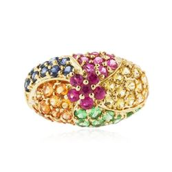 10KT Yellow Gold 3.86 ctw Multi Gemstone Ring