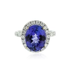 14KT White Gold 5.70 ctw Tanzanite and Diamond Ring