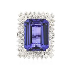 14KT White Gold GIA Certified 30.18 ctw Tanzanite and Diamond Ring