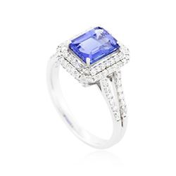 18KT White Gold 1.73 ctw Tanzanite and Diamond Ring