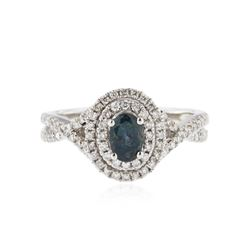 18KT White Gold 0.72 ctw Alexandrite and Diamond Ring