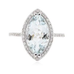 14KT White Gold 3.95 ctw Aquamarine and Diamond Ring