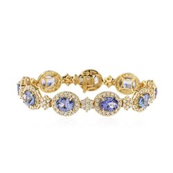 18KT Yellow Gold 19.80 ctw Tanzanite and Diamond Bracelet