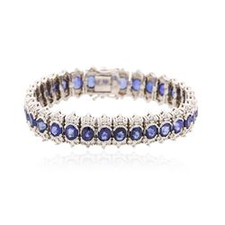 14KT White Gold 20.79 ctw Sapphire and Diamond Bracelet