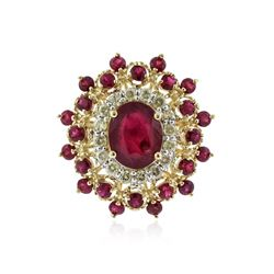 14KT Yellow Gold 4.91 ctw Ruby and Diamond Ring