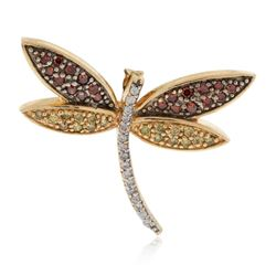 14KT Yellow Gold 0.22 ctw Ruby and Diamond Dragonfly Pendant