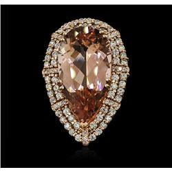 14KT Rose Gold GIA Certified 29.95 ctw Morganite and Diamond Ring