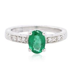 14KT White Gold 0.76 ctw Emerald and Diamond Ring