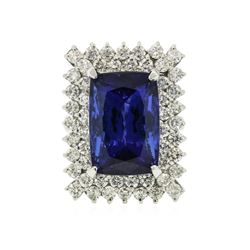 14KT White Gold GIA Certified 17.10 ctw Tanzanite and Diamond Ring