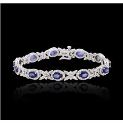 14KT White Gold 5.72 ctw Sapphire and Diamond Bracelet