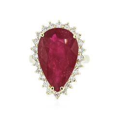 14KT Yellow Gold 9.85 ctw Ruby and Diamond Ring