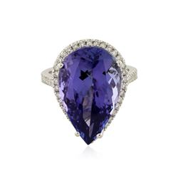 14KT White Gold GIA Certified 14.81 ctw Tanzanite and Diamond Ring