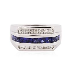 14KT White Gold 1.00 ctw Sapphire and Diamond Ring