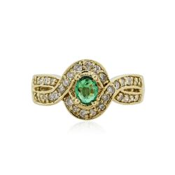 14KT Yellow Gold 0.82 ctw Emerald and Diamond Ring