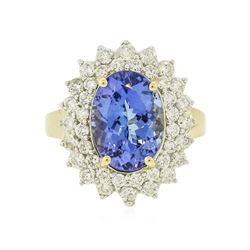 14KT Yellow Gold 4.07 ctw Tanzanite and Diamond Ring
