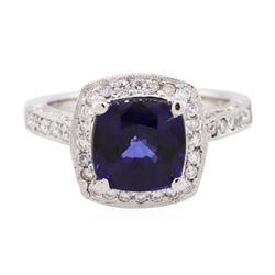 14KT White Gold 3.13 ctw Sapphire and Diamond Ring