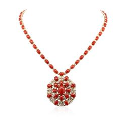 14KT Yellow Gold 33.95 ctw Coral and Diamond Necklace