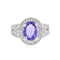 14KT White Gold 2.57 ctw Tanzanite and Diamond Ring