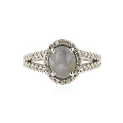 18KT White Gold 1.50 ctw Star Sapphire and Diamond Ring
