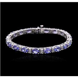 14KT White Gold 15.39 ctw Tanzanite and Diamond Bracelet
