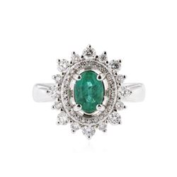 14KT White Gold 0.69 ctw Emerald and Diamond Ring