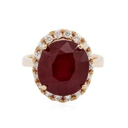 14KT Rose Gold 7.97 ctw Ruby and Diamond Ring