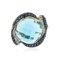 14KT Yellow Gold 15.52 ctw Topaz, Sapphire and Diamond Ring